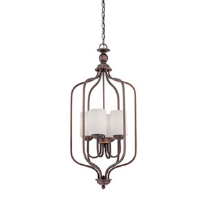 Lansing Rubbed Bronze 16-Inch Four-Light Pendant with Etched White Glass