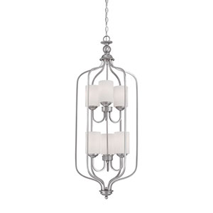 Lansing Brushed Pewter 16-Inch Six-Light Pendant with Etched White Glass