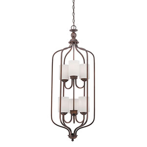 Lansing Rubbed Bronze 16-Inch Six-Light Pendant with Etched White Glass