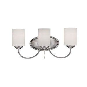 Lansing Brushed Pewter 20-Inch Three-Light Vanity with Etched White Glass