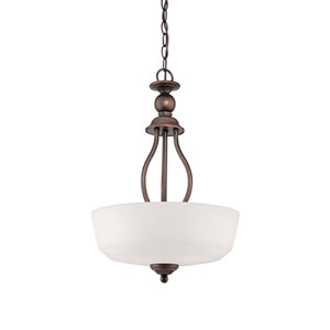 Lansing Rubbed Bronze 15-Inch Three-Light Pendant with Etched White Glass
