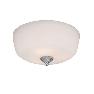 Lansing Brushed Pewter 15-Inch Three-Light Semi-Flush Mount with Etched White Glass