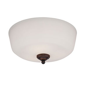Lansing Rubbed Bronze 15-Inch Three-Light Semi-Flush Mount with Etched White Glass