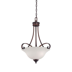 Kingsport Rubbed Bronze 20-Inch Three-Light Pendant with Etched White Glass