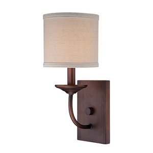 Jackson Rubbed Bronze 14.5-Inch One-Light Wall Sconce with Beige Shade
