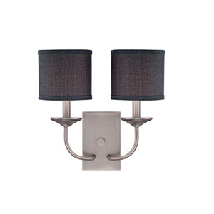 Jackson Brushed Pewter 14.5-Inch Two-Light Wall Sconce with Charcoal Shade