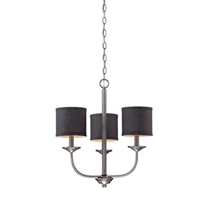 Jackson Brushed Pewter 21-Inch Three-Light Chandelier with Charcoal Shade