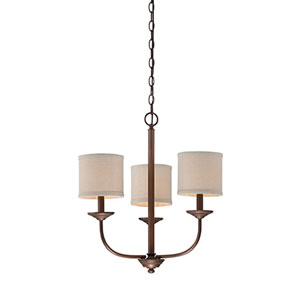 Jackson Rubbed Bronze 21-Inch Three-Light Chandelier with Beige Shade