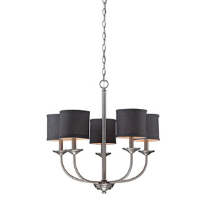 Jackson Brushed Pewter 25-Inch Five-Light Chandelier with Charcoal Shade