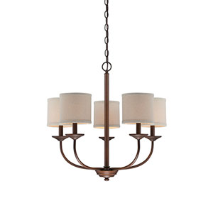 Jackson Rubbed Bronze 25-Inch Five-Light Chandelier with Beige Shade