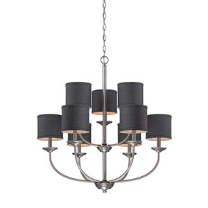 Jackson Brushed Pewter 29.5-Inch Nine-Light Chandelier with Charcoal Shade