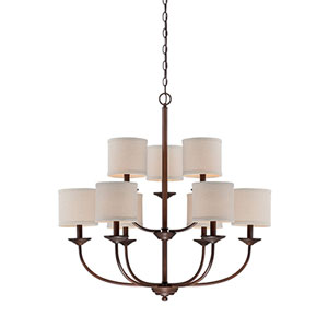 Jackson Rubbed Bronze 29.5-Inch Nine-Light Chandelier with Beige Shade