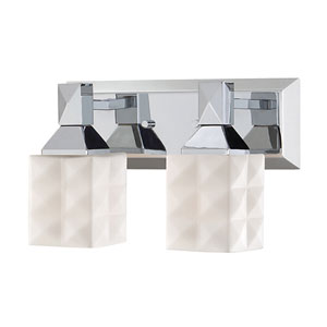 Chrome Two-Light Vanity with Etched White Diamond Glass
