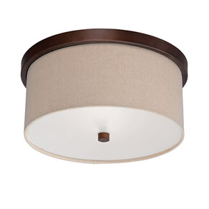 Jackson Rubbed Bronze 13-Inch Two-Light Flush Mount with Beige Shade