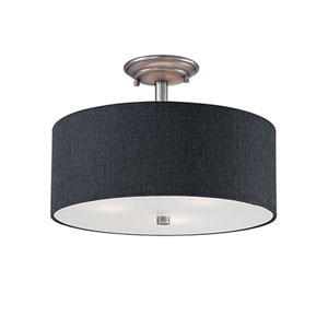 Jackson Brushed Pewter 15-Inch Three-Light Semi-Flush Mount with Charcoal Shade