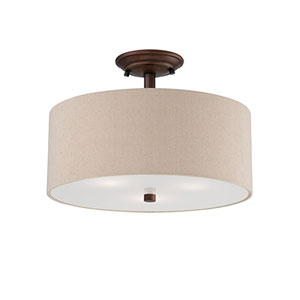 Jackson Rubbed Bronze 15-Inch Three-Light Semi-Flush Mount with Beige Shade