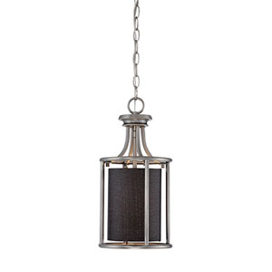 Jackson Brushed Pewter 8-Inch One-Light Pendant with Charcoal Shade