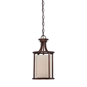Jackson Rubbed Bronze 8-Inch One-Light Pendant with Beige Shade