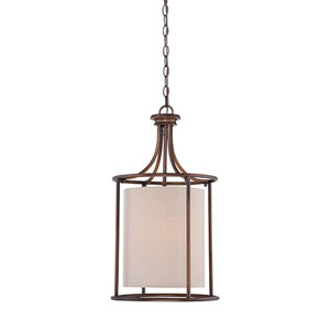 Jackson Rubbed Bronze 14-Inch Two-Light Pendant with Beige Shade