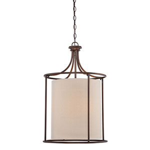 Jackson Rubbed Bronze 20-Inch Three-Light Pendant with Beige Shade