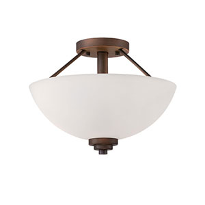 Durham Rubbed Bronze 13.5-Inch Two-Light Semi-Flush Mount with Etched White Glass