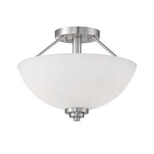 Durham Satin Nickel 13.5-Inch Two-Light Semi-Flush Mount with Etched White Glass