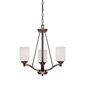 Durham Rubbed Bronze 20.5-Inch Three-Light Chandelier with Etched White Glass