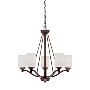 Durham Rubbed Bronze 25-Inch Five-Light Chandelier with Etched White Glass
