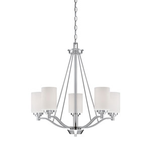 Durham Satin Nickel 25-Inch Five-Light Chandelier with Etched White Glass