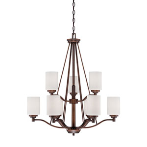 Durham Rubbed Bronze Nine-Light Chandelier with Etched White Glass