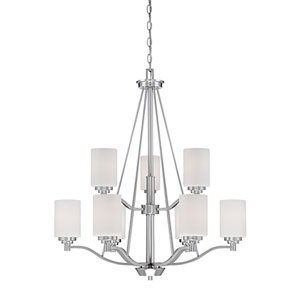 Durham Satin Nickel Nine-Light Chandelier with Etched White Glass