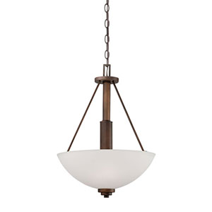 Durham Rubbed Bronze 16-Inch Three-Light Pendant with Etched White Glass