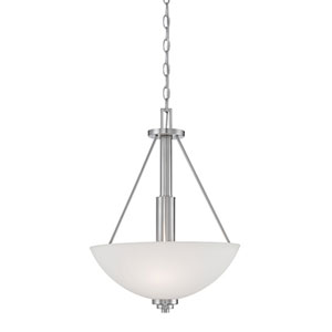 Durham Satin Nickel 16-Inch Three-Light Pendant with Etched White Glass