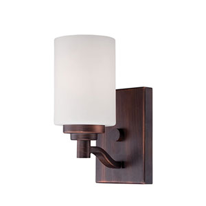 Durham Rubbed Bronze 9-Inch One-Light Wall Sconce with Etched White Glass