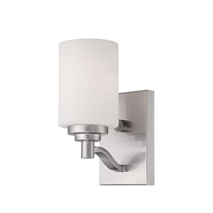 Durham Satin Nickel 9-Inch One-Light Wall Sconce with Etched White Glass