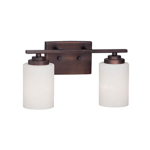 Durham Rubbed Bronze 14.5-Inch Two-Light Vanity with Etched White Glass