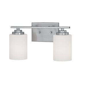Durham Satin Nickel 14.5-Inch Two-Light Vanity with Etched White Glass