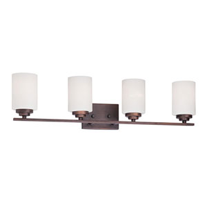 Durham Rubbed Bronze Four-Light Vanity with Etched White Glass