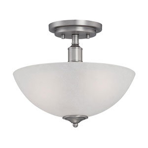 Franklin Brushed Pewter 12-Inch Two-Light Semi-Flush Mount with Light India Scavo Glass
