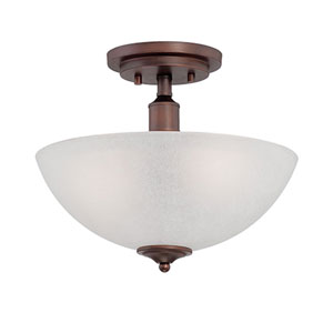 Franklin Rubbed Bronze 12-Inch Two-Light Semi-Flush Mount with Light India Scavo Glass