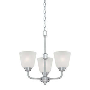 Franklin Brushed Pewter 18.5-Inch Three-Light Chandelier with Light India Scavo Glass