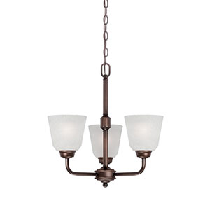Franklin Rubbed Bronze 18.5-Inch Three-Light Chandelier with Light India Scavo Glass