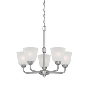 Franklin Brushed Pewter 23-Inch Five-Light Chandelier with Light India Scavo Glass