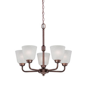 Franklin Rubbed Bronze 23-Inch Five-Light Chandelier with Light India Scavo Glass