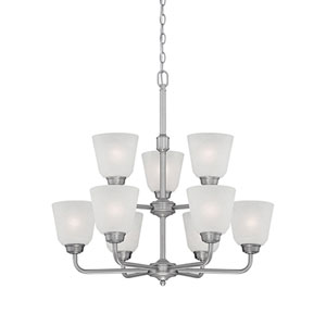 Franklin Brushed Pewter 26-Inch Nine-Light Chandelier with Light India Scavo Glass