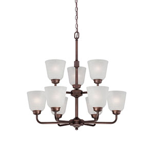 Franklin Rubbed Bronze 26-Inch Nine-Light Chandelier with Light India Scavo Glass