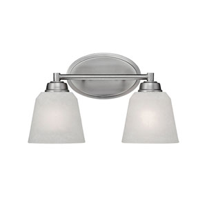 Franklin Brushed Pewter 14-Inch Two-Light Vanity with Light India Scavo Glass