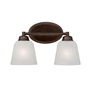 Franklin Rubbed Bronze 14-Inch Two-Light Vanity with Light India Scavo Glass