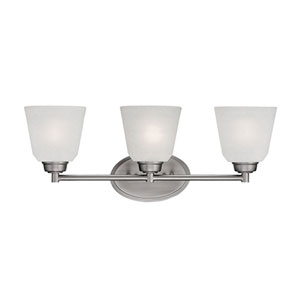 Franklin Brushed Pewter 23-Inch Three-Light Vanity with Light India Scavo Glass