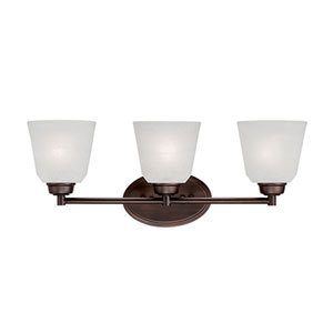 Franklin Rubbed Bronze 23-Inch Three-Light Vanity with Light India Scavo Glass